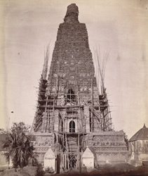 The Mahabodhi Temple at Bodh Gaya, during restoration.